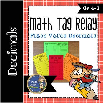 Get your students up and moving in math class with a math relay that has students solving problems with decimal number sense through the hundredths place. This relay is a great way to practice place value with decimals while having fun. Math Tag Relay is a relay game with students put into groups racing to answer questions.
