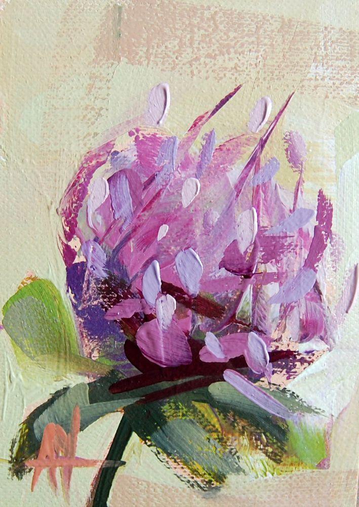 Purple Clover no. 4 original flower oil painting by Angela Moulton  #Impressionism