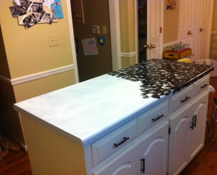 Paint counter tops for faux granite look kitchen for Painted countertop ideas
