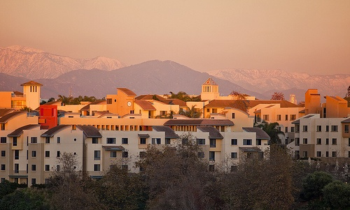 The Loyola Marymount University campus at dusk.