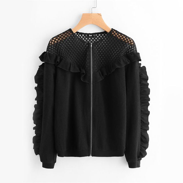 Fishnet Yoke Frill Jacket Women Black Long Sleeve Cut Out Zip Up Autumn Coat Fashion New Casual Sexy Ruffle Jacket Oh just take a look at this! Visit us
