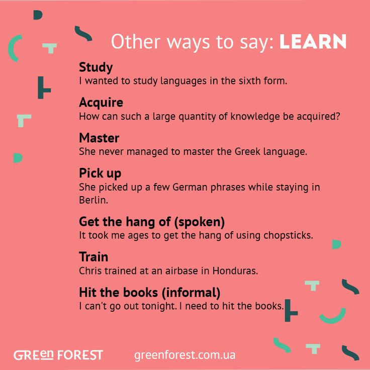 Synonyms to the word LEARN. Other ways to say LEARN. Синонимы к английскому слову LEARN.