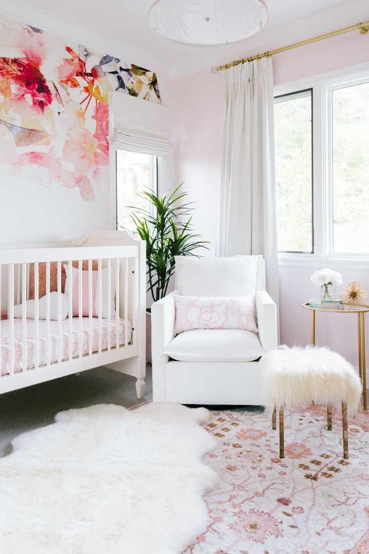 Project Nursery - Feminine Pink and White Nursery with Floral Accent Wallpaper