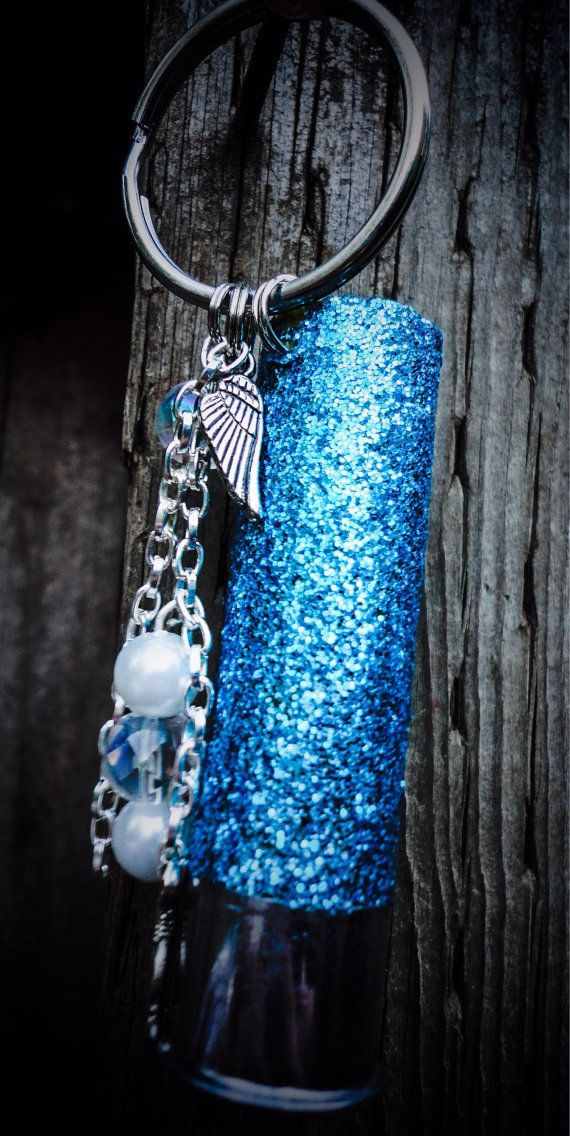 Glitter Teal Blue Shotgun Keychain by PeppermintPixieDust on Etsy