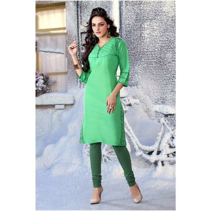 Bewitching Green Cotton Online #Kurti