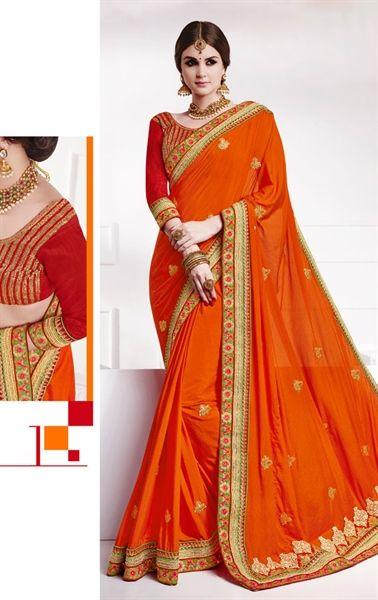 Picture of Magnificent Orange Premium Designer Saree