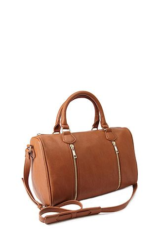 Faux Leather Zippered Satchel Forever21 1002247319