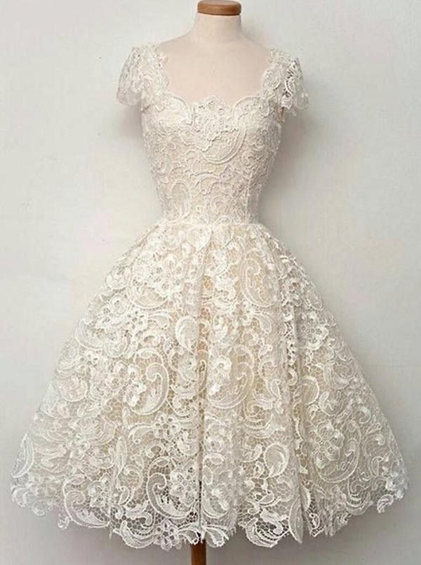 Vintage 2015 Scoop Short Sleeves A-line Lace Homecoming Dresses Prom Gowns