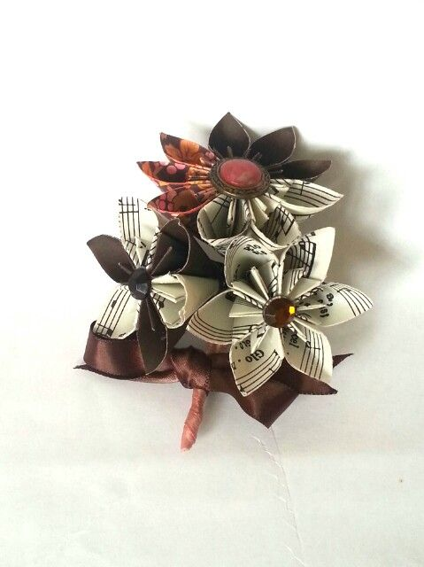 Autumn Winter Wedding alternative buttonhole Boutonniere vintage buttons  sheet paper music paper origami flowers chocolate burnt orange gold ivory cream www.lilybellekeepsakes.com