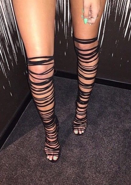 thigh high strappy heels