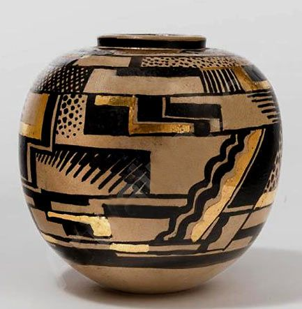 Art Deco glazed and gilt earthenware vase 1925 Rene BUTHAUD