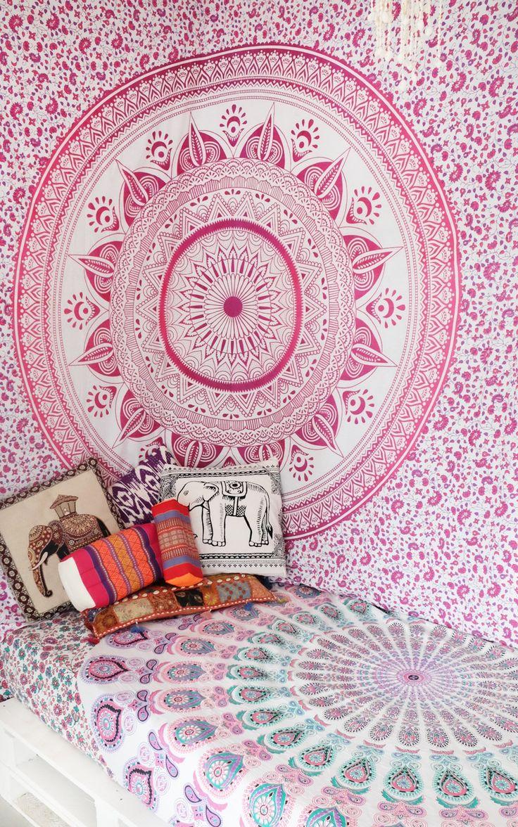 Pink Multi Ombre Tapestry, Hippie Mandala Bedding Throw on RoyalFurnish.com, $19.24