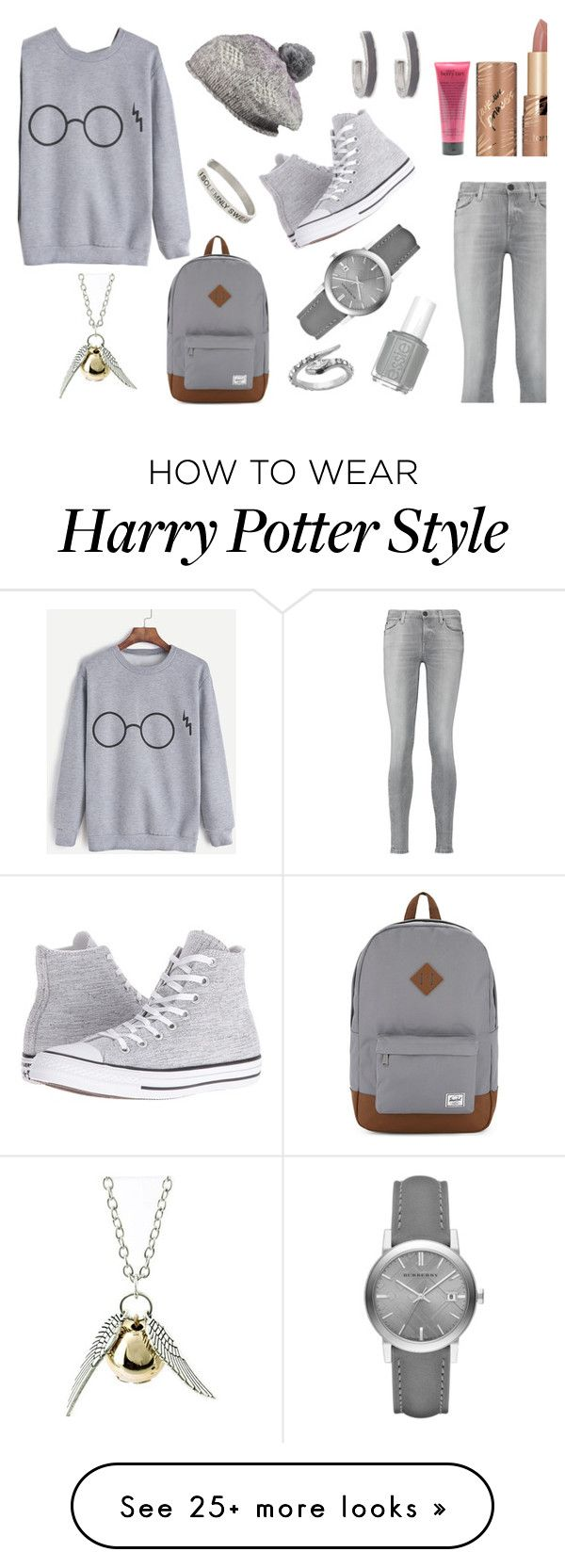 """Grey Sweatshirt *_*"" by basmahahmed on Polyvore featuring 7 For All Mankind, Converse, Herschel Supply Co., Pistil, Burberry, Erica Lyons, tarte, Quiksilver, Warner Bros. and Blu Bijoux"