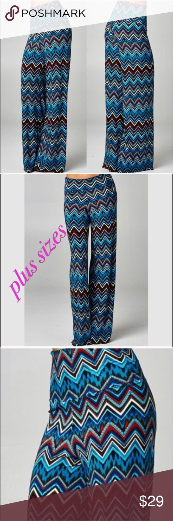 Plus size palazzo pants Casual and chic plus size wide leg pants - chevron print with foldable waist - rayon/spandex - price is firm. Boutique Pants Wide Leg
