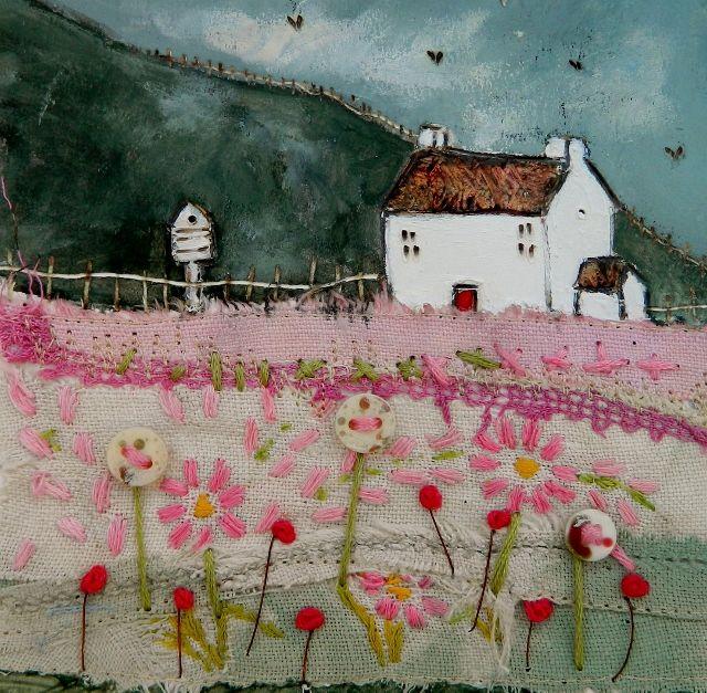 'Dovecote meadow' by Louise O'Hara of DrawntoStitch www.facebook.com/DrawntoStitch