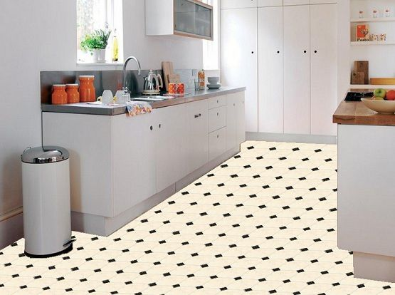 Kitchen With Black And White Vinyl Flooring Flooring Ideas