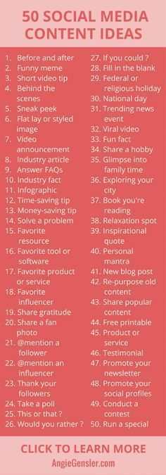 Not sure what to post on social media? Here are 50 ideas! Click through for desc…