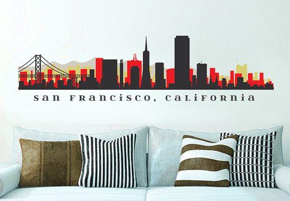 "NFL 49ers San Francisco Skyline Team Wall Decal Washington Art Vinyl Peel n Stick up to 70"" x 18"" College Dorm Office Business Decor City"