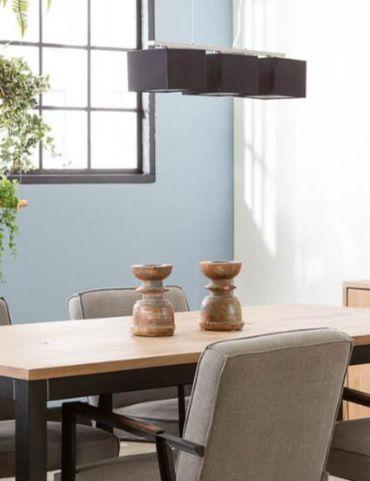 Hanglamp Mees - De drie zwarte kappen en het RVS frame van deze lamp zorgen voor een strakke, luxe uitstraling - Goossens wonen & slapen