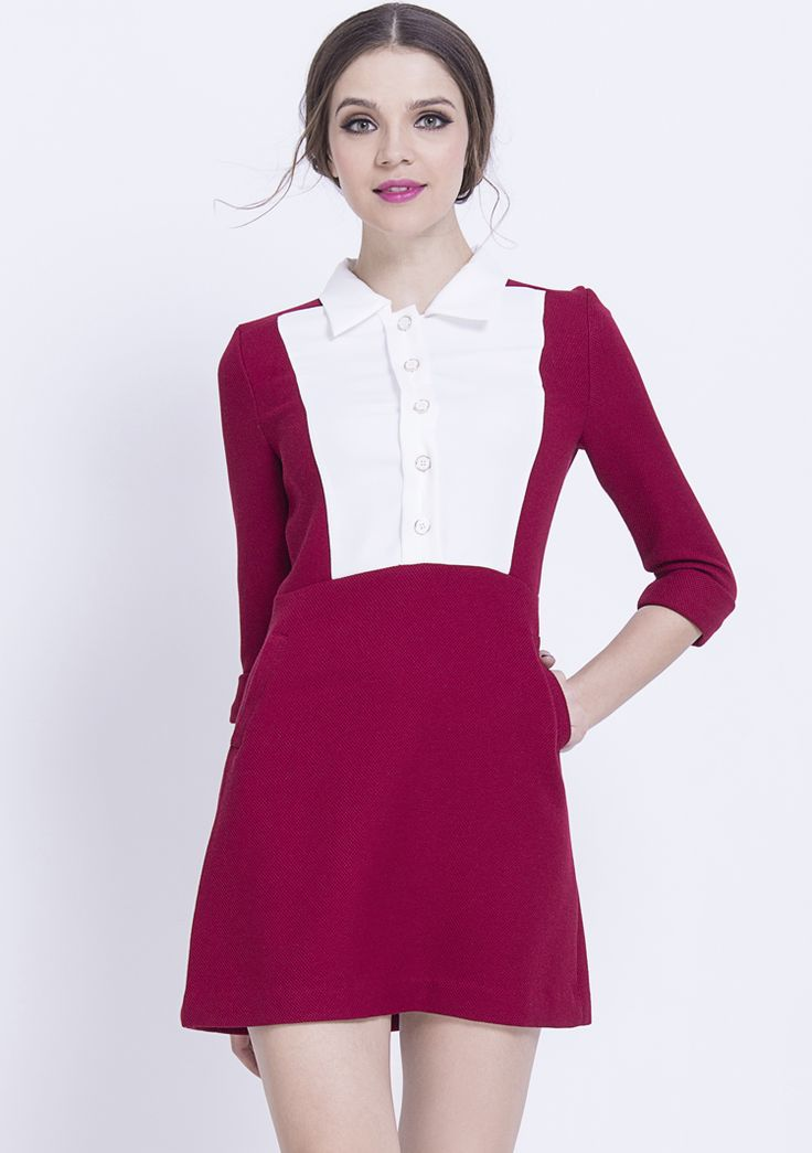 Red Contrast White Lapel Buttons Dress $58.5