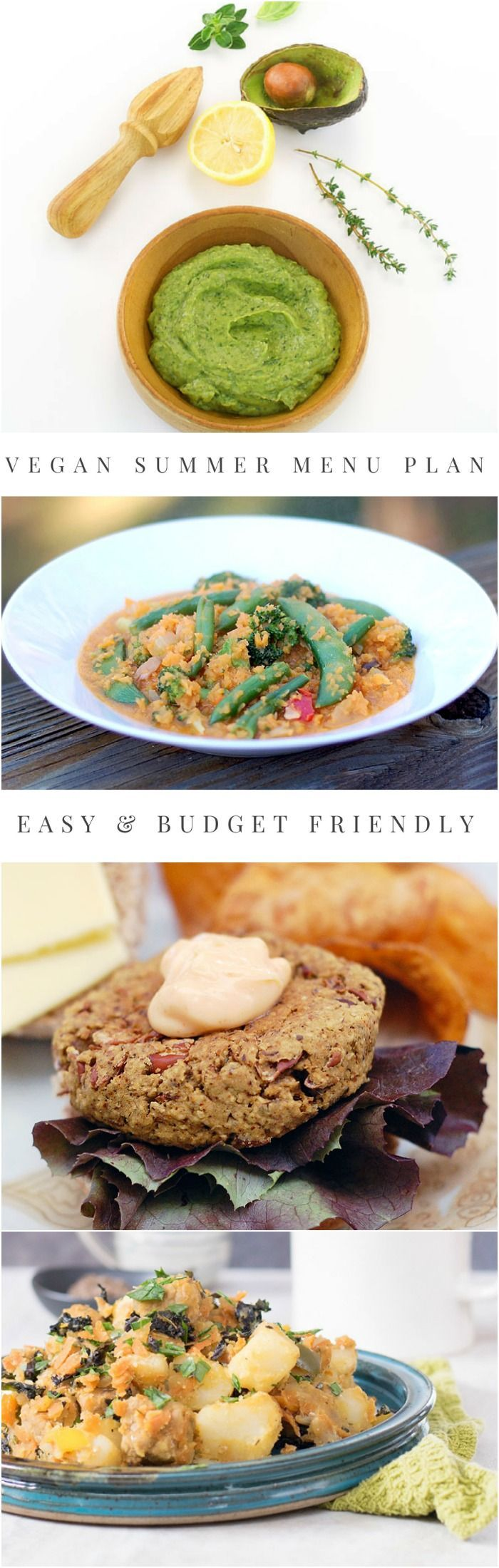 Make your week easier with this vegan summer meal plan - it will get dinner on the table fast every night! Get 7 vegan dinner recipes and a dessert too!