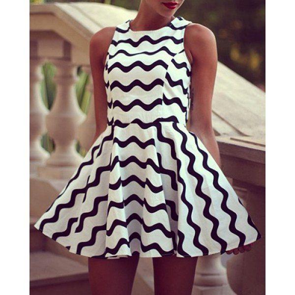 Simple Style Round Neck Sleeveless Color Block Stripe Women's Dress