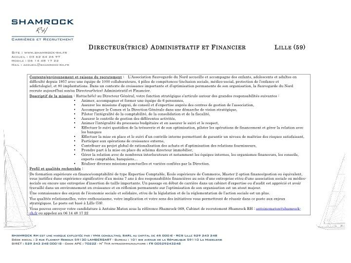 Shamrock RH recrute le/la Directeur(trice) Administratif et Financier pour la Sauvegarde du Nord