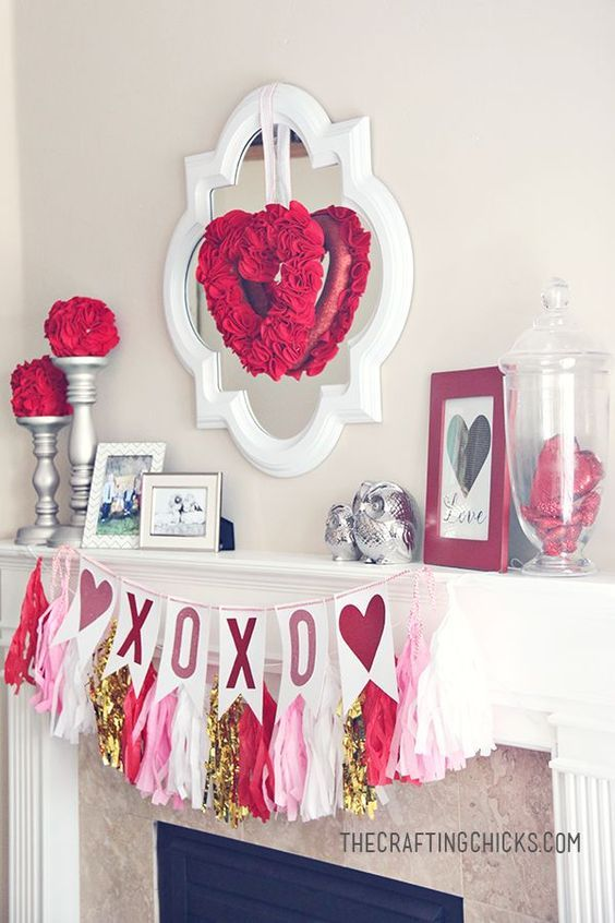 Valentine Mantle Inspiration with pretty DIY Tassels Garland in Pink, White and ...