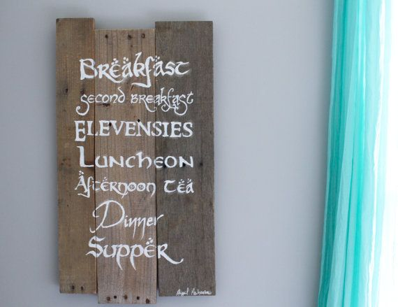 Lord of the Rings Hobbit Meals Wood Decor Pallet Art