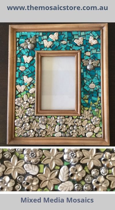 Learn to create this beautiful mosaic photo frame, click here get the detail project instructions. www.themosaicstore.com.au. This project uses mixed media mosaics, mirrors and silver decorative embellishments. www.themosaicstore.com.au