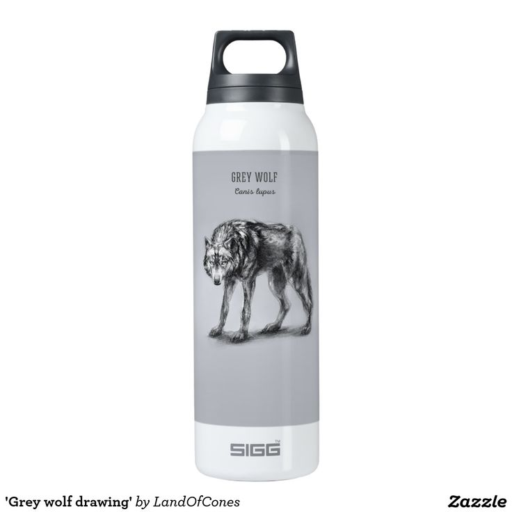 'Grey wolf drawing' Thermos Water Bottle