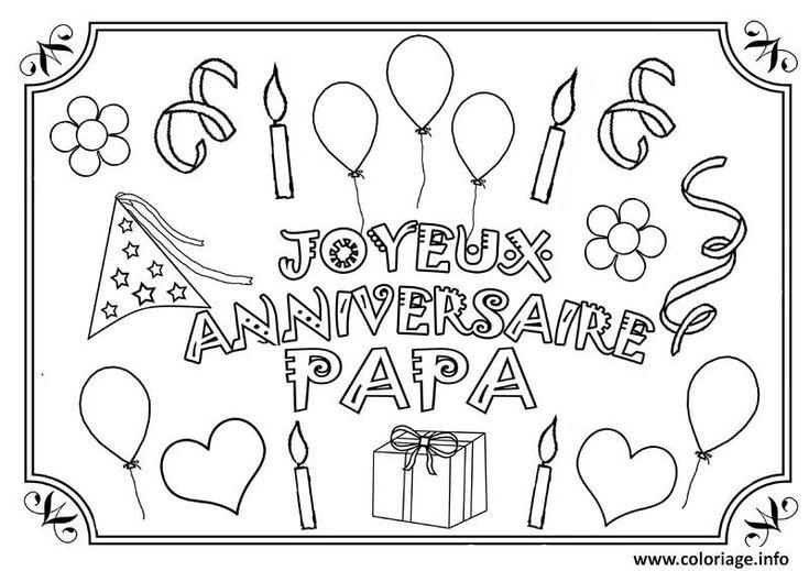 Coloriage joyeux anniversaire papa fete des peres Dessin à Imprimer | Coloriage joyeux ...