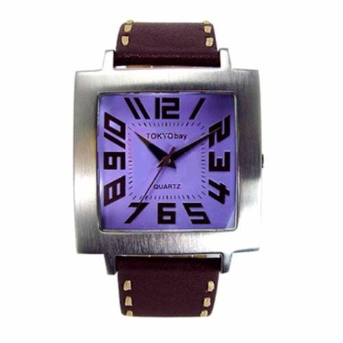 TOKYObay [USA] 'Tram' Trendy Fashion Watch; S/S Case; Leather Strap; 'PURPLE' - FREE SHIPPING WORLDWIDE - £62