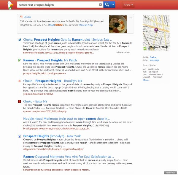 """DuckDuckGo search engine gains popularity, increasing 227% in 3 months. Boasting a cleaner interface and results page, DuckDuckGo also claims to have stricter privacy polices promising not to track the user. Perhaps most compelling is DuckDuckGo's improvement on the speed of search by building a targeted result bar placed above the search engines only paid result. This area contains the specific information a user searched for on-page- like Google's """"Im feeling lucky"""" link, but the next…"""