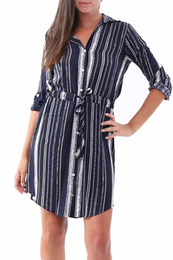 This Veronica M navy striped shirt dress is simple but gives the perfect put together look.   Stripe Work Dress by Veronica M. Clothing - Dresses - Long Sleeve Clothing - Dresses - Work New Jersey