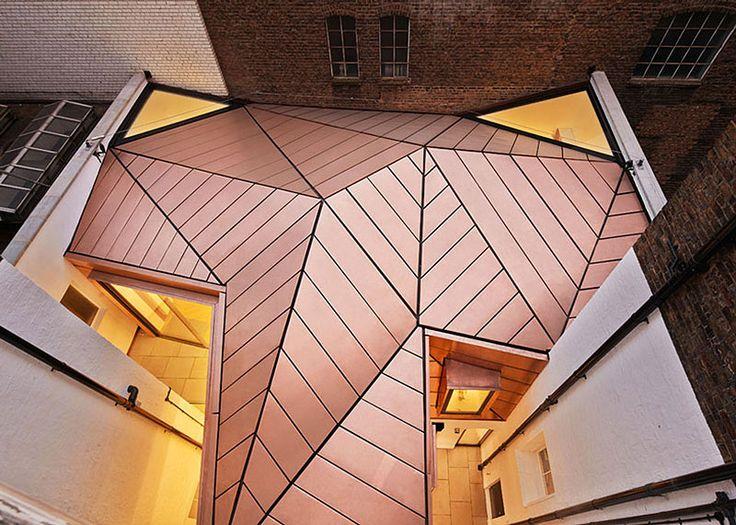 Edificios con revestimiento de cobre