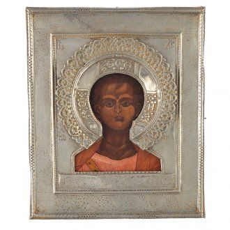 Icona russa antica Cristo Emmanuele 1874 riza argento | vendita online su HOLYART