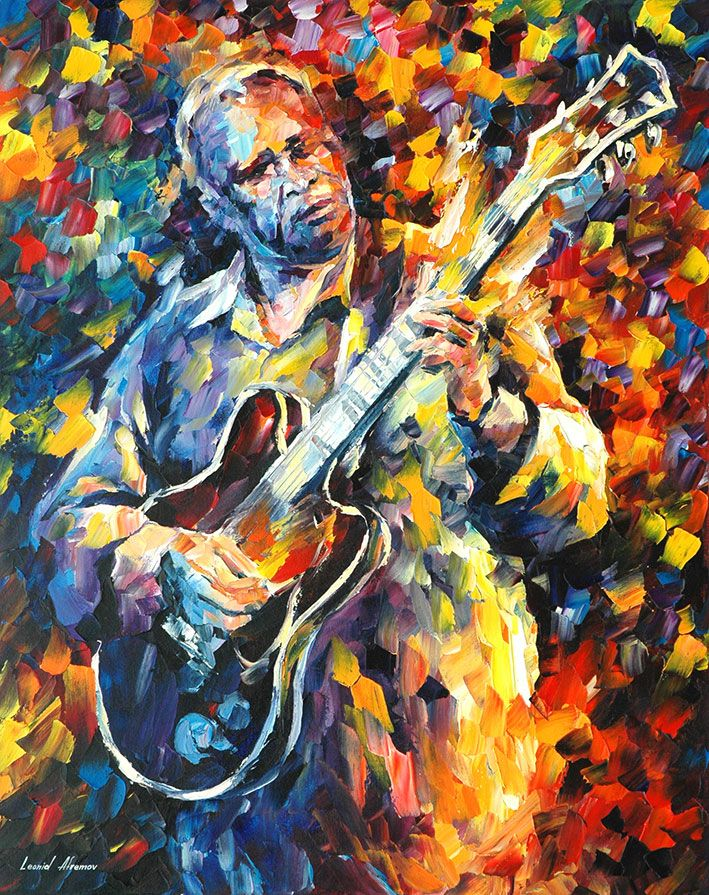 BB KING – LONG NIGHTS — PALETTE KNIFE Oil Painting On Canvas