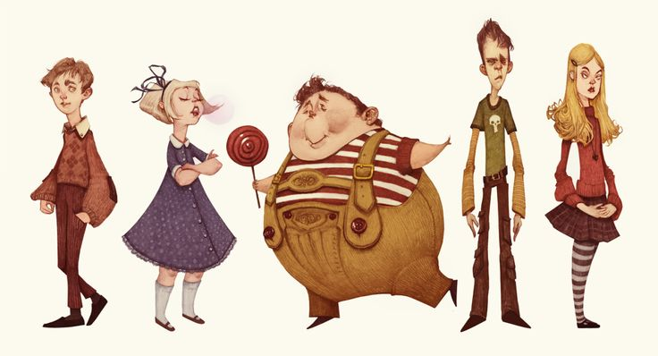 Characters by Audrey Benjaminsen from Roald Dahl's Charlie and the Chocolate Factory. From left to right: Charlie Bucket, Violet Beauregarde, Augustus Gloop, Mike Teavae and Veronica Salt