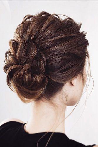 Hochzeit Hochsteckfrisuren für kurze Haare kleine strukturierte Brötchen Lena Bogucharskaya über Instagram   – Lynn