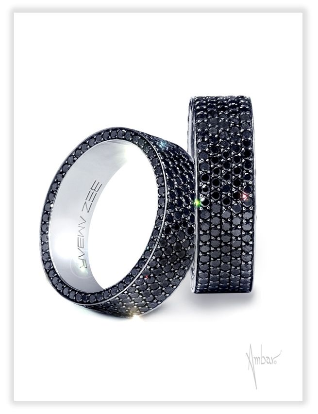 PAVE 6.9MM 18K White Gold Black Diamond Mens Ring