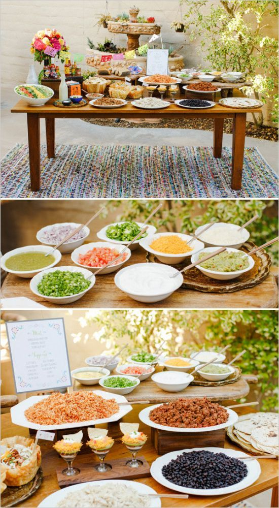 DIY Taco Bar including recipes, free printables, and much more! #fiesta #tacobar #weddingchicks Caterer: 24 Carrots Design: Brooke Keegan ---> http://www.weddingchicks.com/2014/04/30/make-your-own-taco-bar/
