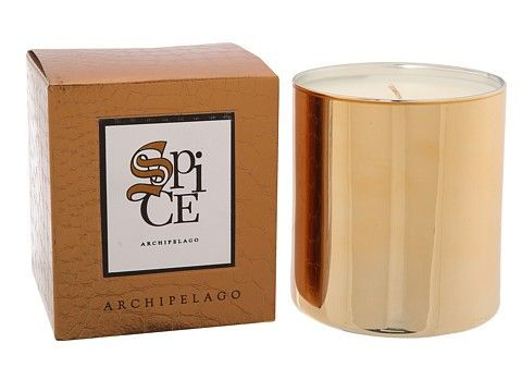 "Archipelago Botanicals: Spice Home Candle 14 oz/400g - A blend of Cardamom, Spice and Patchouli, this Spice Gift Boxed Candle is presented in mirror-like glass and packaged in a tastefully embossed mock crock metallic gift box.   Designed to create an unforgettable gift that needs no special wrapping or to place around your home year round, this candle burns for approximately 90 hours.  4"" Tall/3"" Diameter"