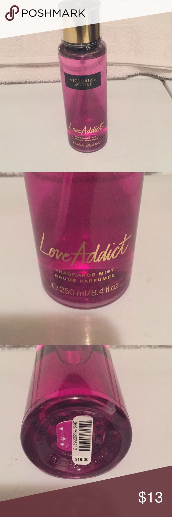 Victoria's Secret Love Addict Fragrance Mist Victoria's Secret Love Addict Fragrance Mist!! 8.4 fl. oz. bottle, new. White orchestra and Blood Orange Scented!!! Smells so amazing!! Bundle with other items to save on shipping. Any other questions feel free to ask!! Victoria's Secret Other