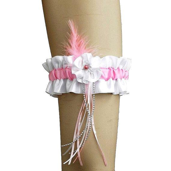 White and pink bridal garter garter in wedding by FashionForWomen
