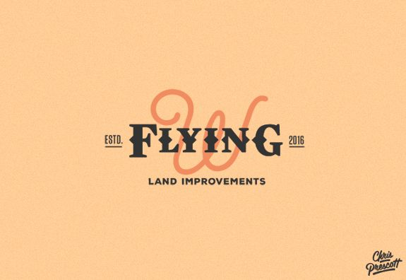 Flying W Land Improvements is a western style ranch logo design by Graphic Designer Chris Prescott. Logo features a custom typeface (flying) with a simple two color design. cprescott.com #graphicdesignerchrisprescott