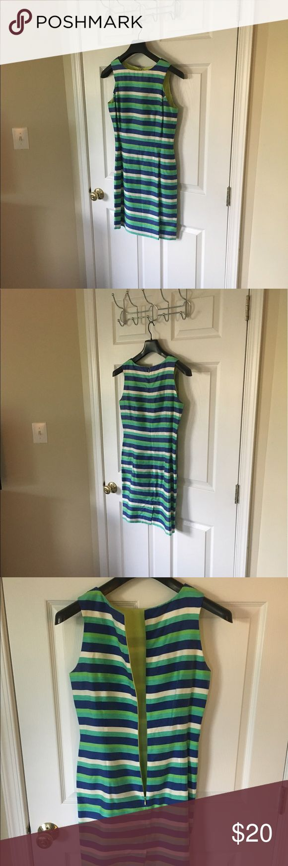 NWOT. Dana Buckman Striped Cocktail Dress. Size 4. NWOT. Dana Buckman Striped Cocktail Dress. Size 4. Blue, Green, and White Striped Dress. No marks! Purchased for a party but never worn! Dana Buchman Dresses Mini