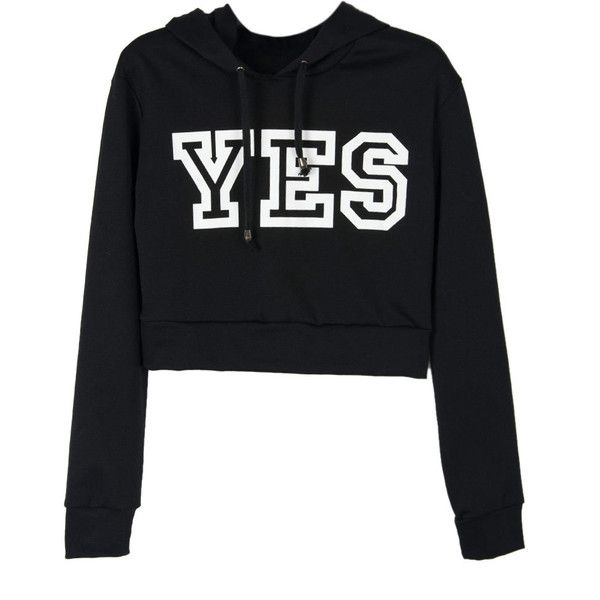 Choies Black YES Print Crop Hoodie ($30) ❤ liked on Polyvore featuring tops, hoodies, sweatshirts, shirts, sweaters, crop tops, black, hooded pullover, hooded sweatshirt and hoodie shirt