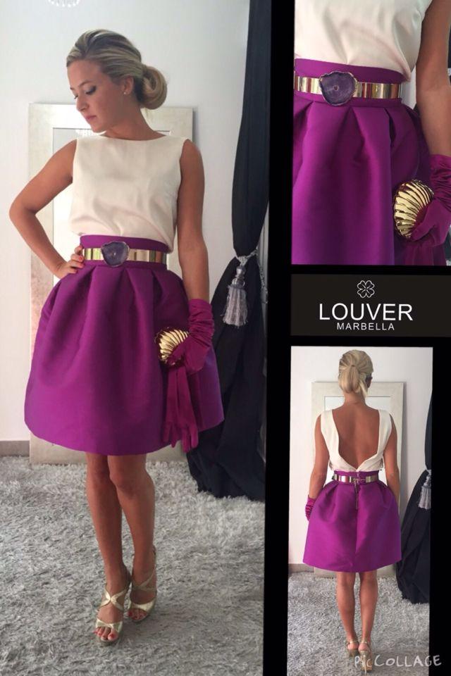 Hoy nuestra falda Fedra en color buganvilla junto con blusa Beatriz, completamos el look con cinturón Ágatha #invitadaperfecta#showroom#louvermarbella#falda#faldafedra#escoteespalda#fashion#mode#moda#cinturon#