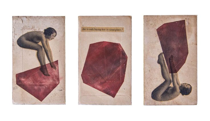 Anneliese Hough. Laying low. 2012 Monoprint/drypoint etch and intron print on vintage envelopes.